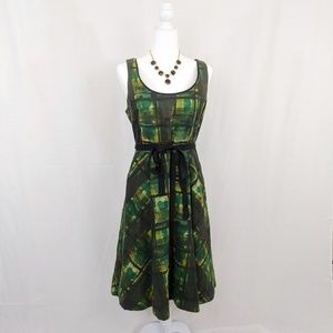 Maeve Anthropologie Green Painted Plaid Dress 8
